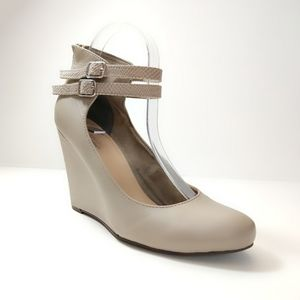 Seychelles Stone Double Ankle Strap Wedges